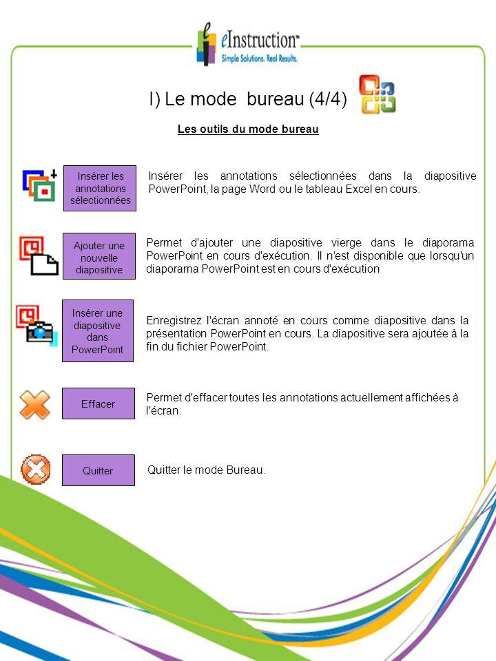 Les outils du mode bureau I) Le mode bureau (4/4) Insérer les annotations sélectionnées dans la diapositive PowerPoint, la page Word ou le tableau Exc