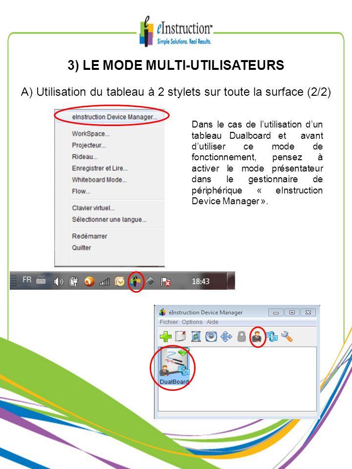 3) LE MODE MULTI-UTILISATEURS A) Utilisation du tableau à 2 stylets sur toute la surface (2/2) Dans le cas de lutilisation dun tableau Dualboard et av