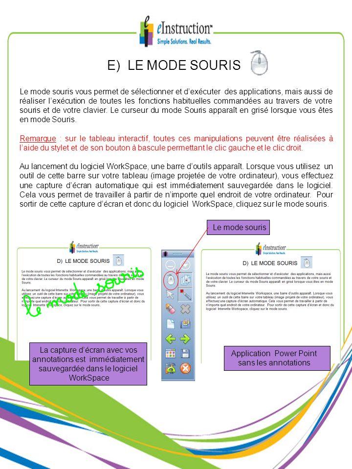 E) LE MODE SOURIS Le mode souris vous permet de sélectionner et dexécuter des applications, mais aussi de réaliser lexécution de toutes les fonctions