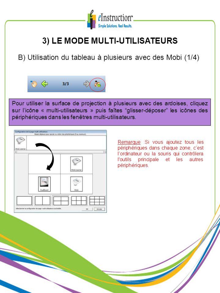 3) LE MODE MULTI-UTILISATEURS B) Utilisation du tableau à plusieurs avec des Mobi (1/4) Pour utiliser la surface de projection à plusieurs avec des ar