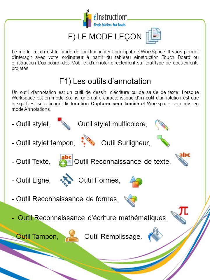 F1) Les outils dannotation Un outil d'annotation est un outil de dessin, d'écriture ou de saisie de texte. Lorsque Workspace est en mode Souris, une a