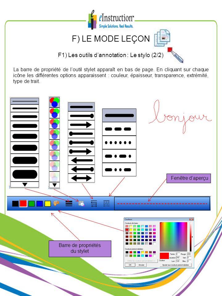La barre de propriété de loutil stylet apparaît en bas de page. En cliquant sur chaque icône les différentes options apparaissent : couleur, épaisseur