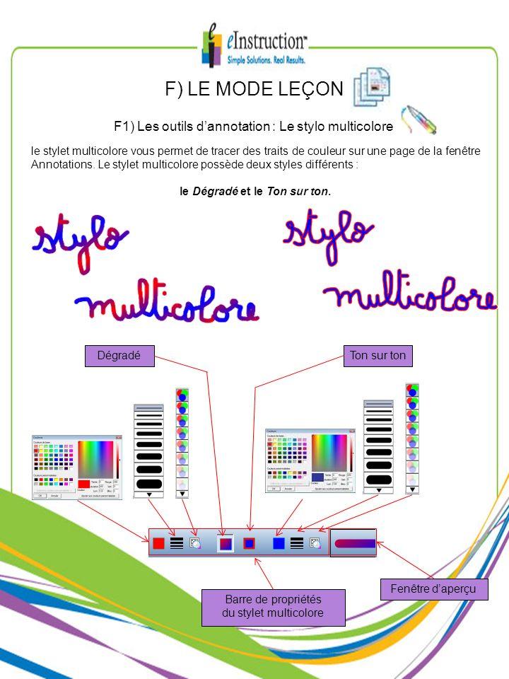 le stylet multicolore vous permet de tracer des traits de couleur sur une page de la fenêtre Annotations. Le stylet multicolore possède deux styles di