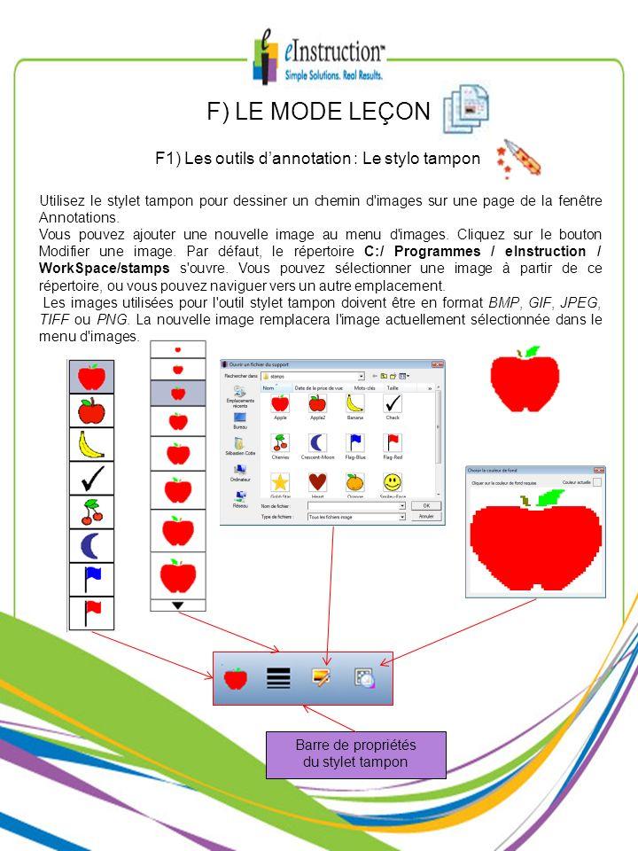 Utilisez le stylet tampon pour dessiner un chemin d'images sur une page de la fenêtre Annotations. Vous pouvez ajouter une nouvelle image au menu d'im