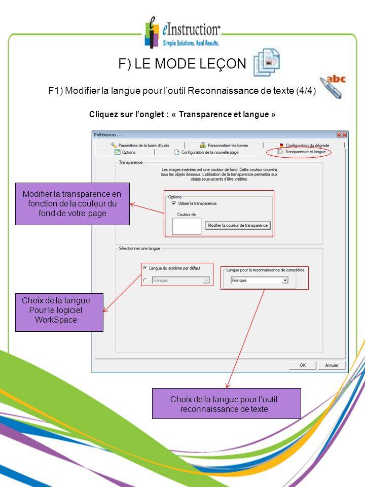 Modifier la transparence en fonction de la couleur du fond de votre page Choix de la langue Pour le logiciel WorkSpace Choix de la langue pour loutil