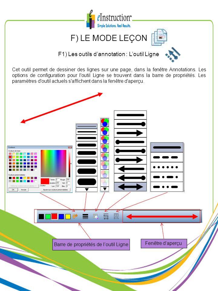Cet outil permet de dessiner des lignes sur une page, dans la fenêtre Annotations. Les options de configuration pour l'outil Ligne se trouvent dans la