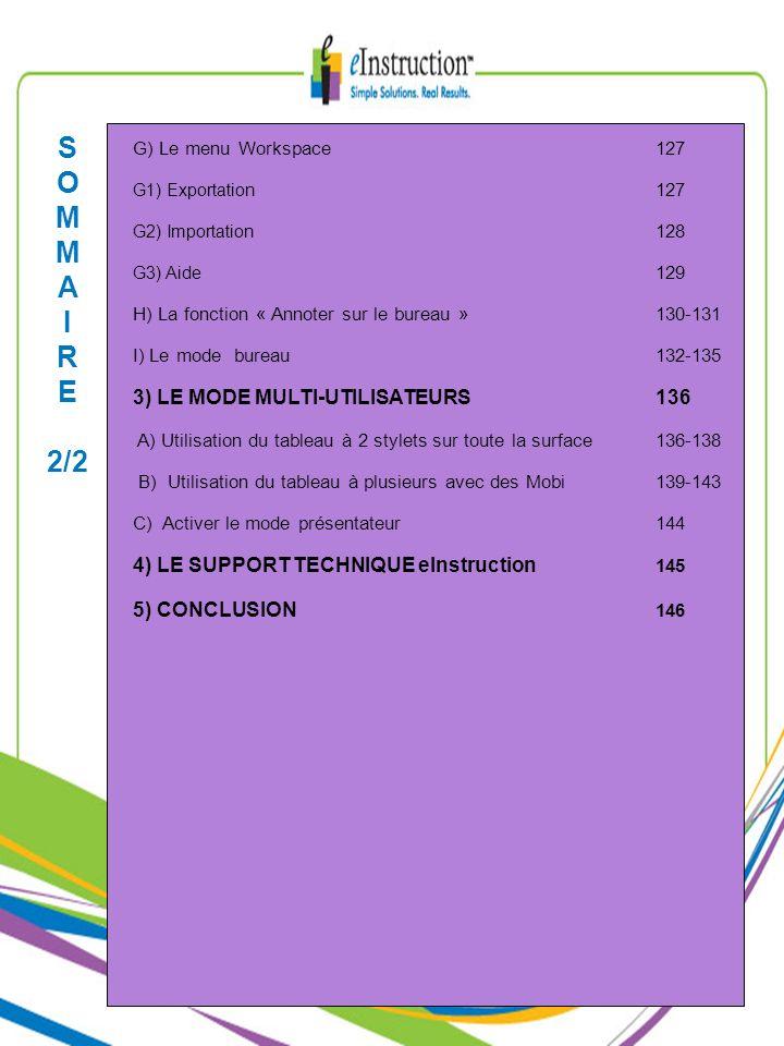 G) Le menu Workspace 127 G1) Exportation 127 G2) Importation 128 G3) Aide 129 H) La fonction « Annoter sur le bureau »130-131 I) Le mode bureau132-135