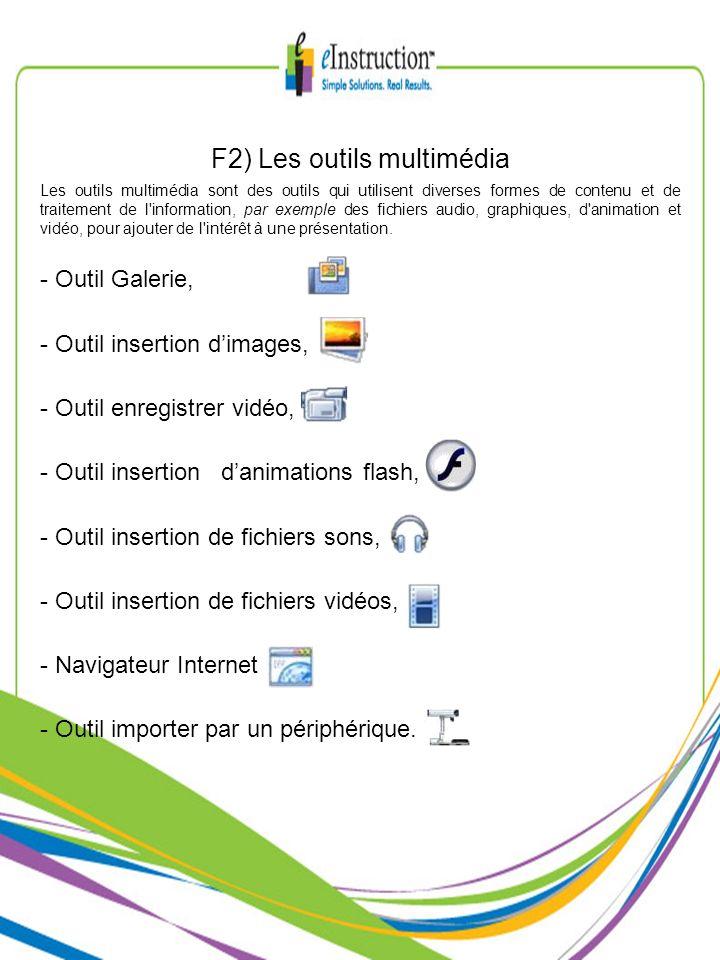 F2) Les outils multimédia Les outils multimédia sont des outils qui utilisent diverses formes de contenu et de traitement de l'information, par exempl
