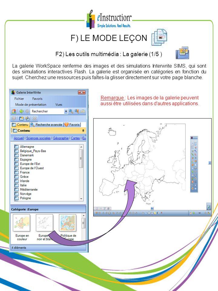 La galerie WorkSpace renferme des images et des simulations Interwrite SIMS, qui sont des simulations interactives Flash. La galerie est organisée en