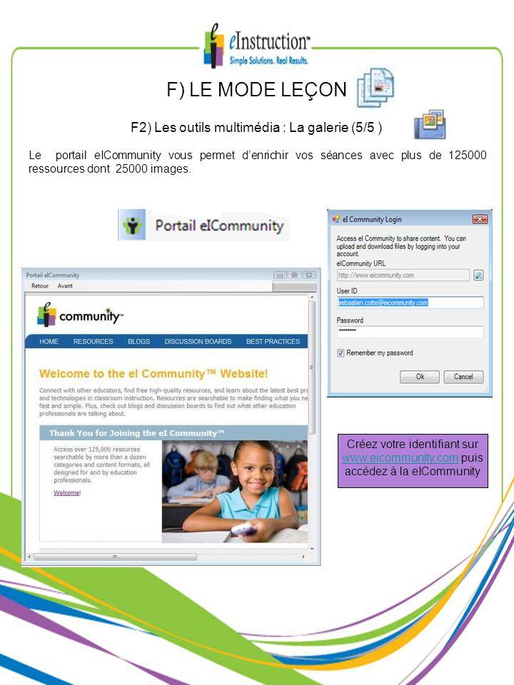 Le portail eICommunity vous permet denrichir vos séances avec plus de 125000 ressources dont 25000 images. F2) Les outils multimédia : La galerie (5/5