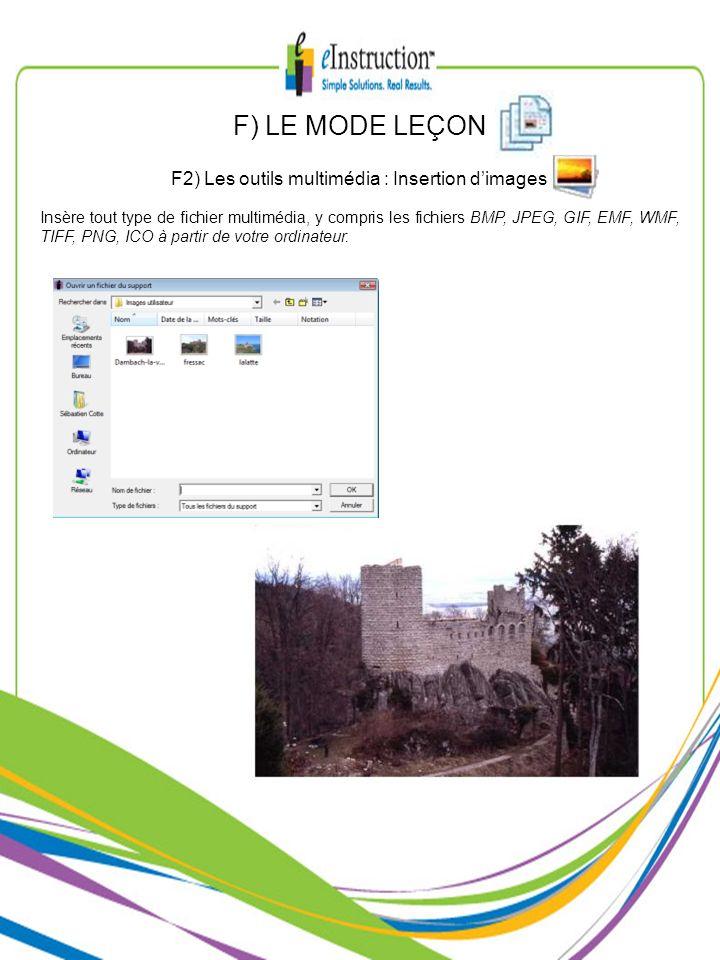 Insère tout type de fichier multimédia, y compris les fichiers BMP, JPEG, GIF, EMF, WMF, TIFF, PNG, ICO à partir de votre ordinateur. F2) Les outils m