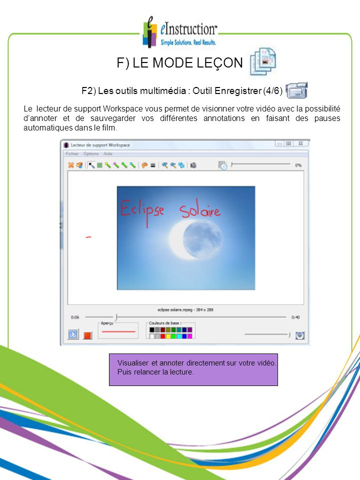F) LE MODE LEÇON F2) Les outils multimédia : Outil Enregistrer (4/6) Le lecteur de support Workspace vous permet de visionner votre vidéo avec la poss