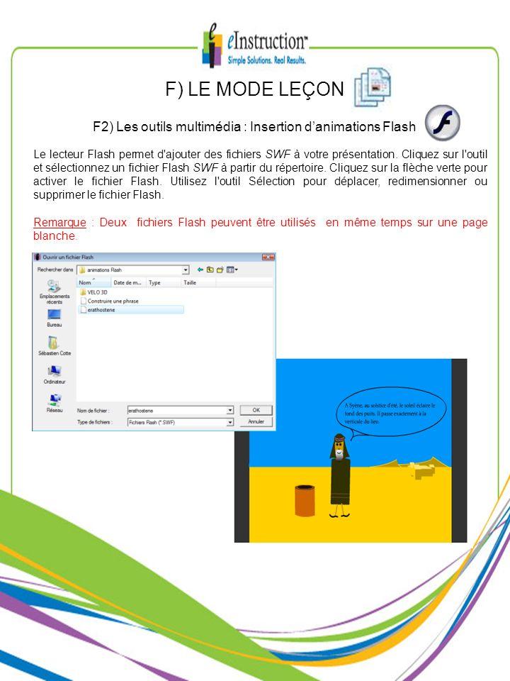 Le lecteur Flash permet d'ajouter des fichiers SWF à votre présentation. Cliquez sur l'outil et sélectionnez un fichier Flash SWF à partir du répertoi