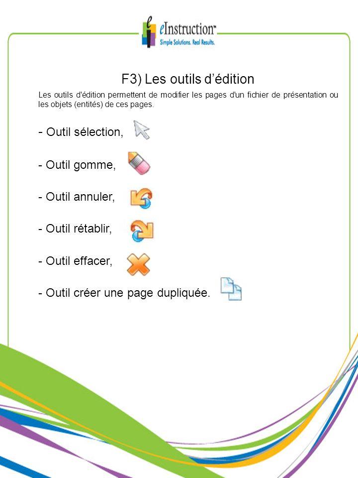 F3) Les outils dédition Les outils d'édition permettent de modifier les pages d'un fichier de présentation ou les objets (entités) de ces pages. - Out
