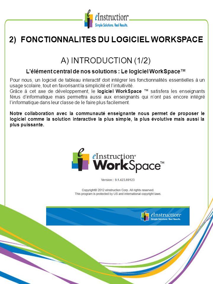 2) FONCTIONNALITES DU LOGICIEL WORKSPACE Pour nous, un logiciel de tableau interactif doit intégrer les fonctionnalités essentielles à un usage scolai