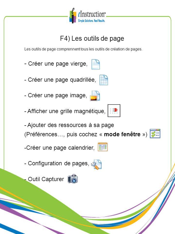 F4) Les outils de page Les outils de page comprennent tous les outils de création de pages. - Créer une page vierge, - Créer une page quadrillée, - Cr