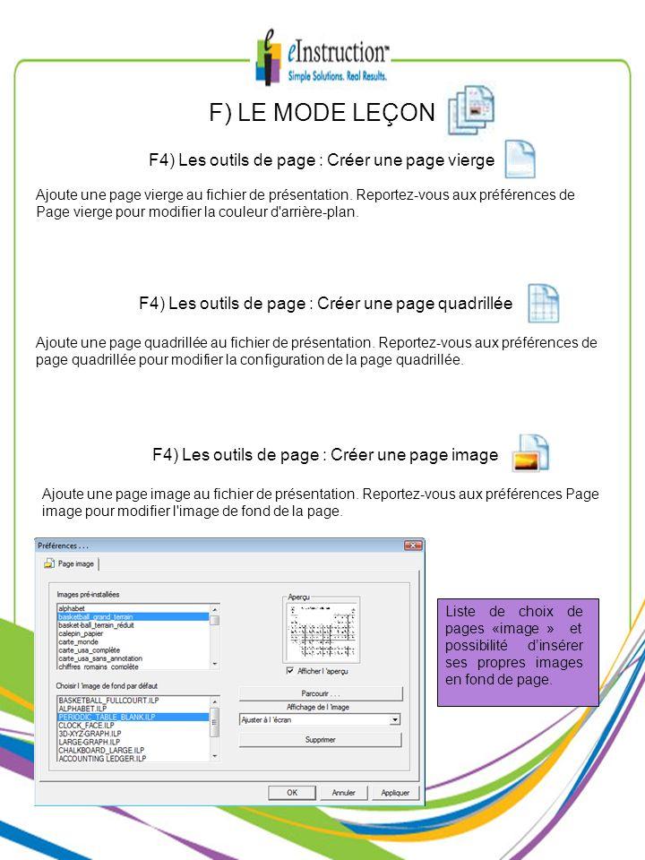 F4) Les outils de page : Créer une page vierge F) LE MODE LEÇON F4) Les outils de page : Créer une page quadrillée F4) Les outils de page : Créer une