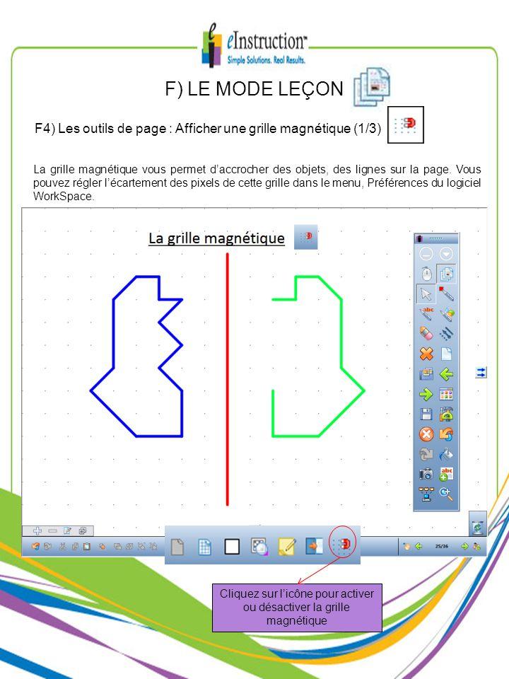 F) LE MODE LEÇON La grille magnétique vous permet daccrocher des objets, des lignes sur la page. Vous pouvez régler lécartement des pixels de cette gr