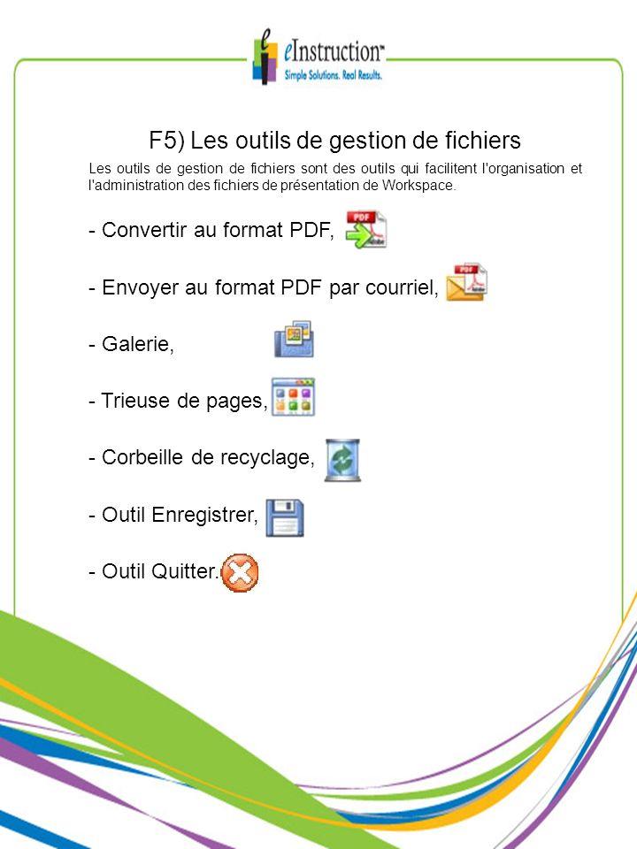 F5) Les outils de gestion de fichiers Les outils de gestion de fichiers sont des outils qui facilitent l'organisation et l'administration des fichiers