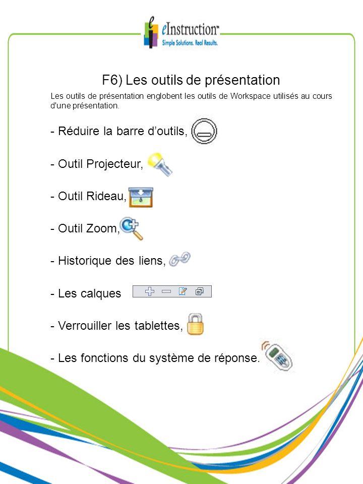 F6) Les outils de présentation Les outils de présentation englobent les outils de Workspace utilisés au cours d'une présentation. - Réduire la barre d