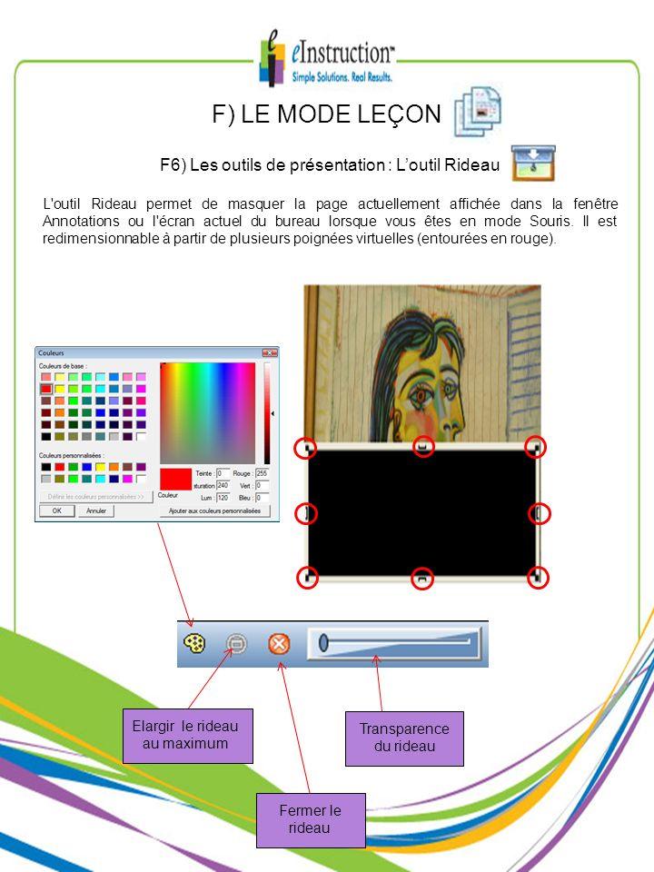 F) LE MODE LEÇON F6) Les outils de présentation : Loutil Rideau L'outil Rideau permet de masquer la page actuellement affichée dans la fenêtre Annotat