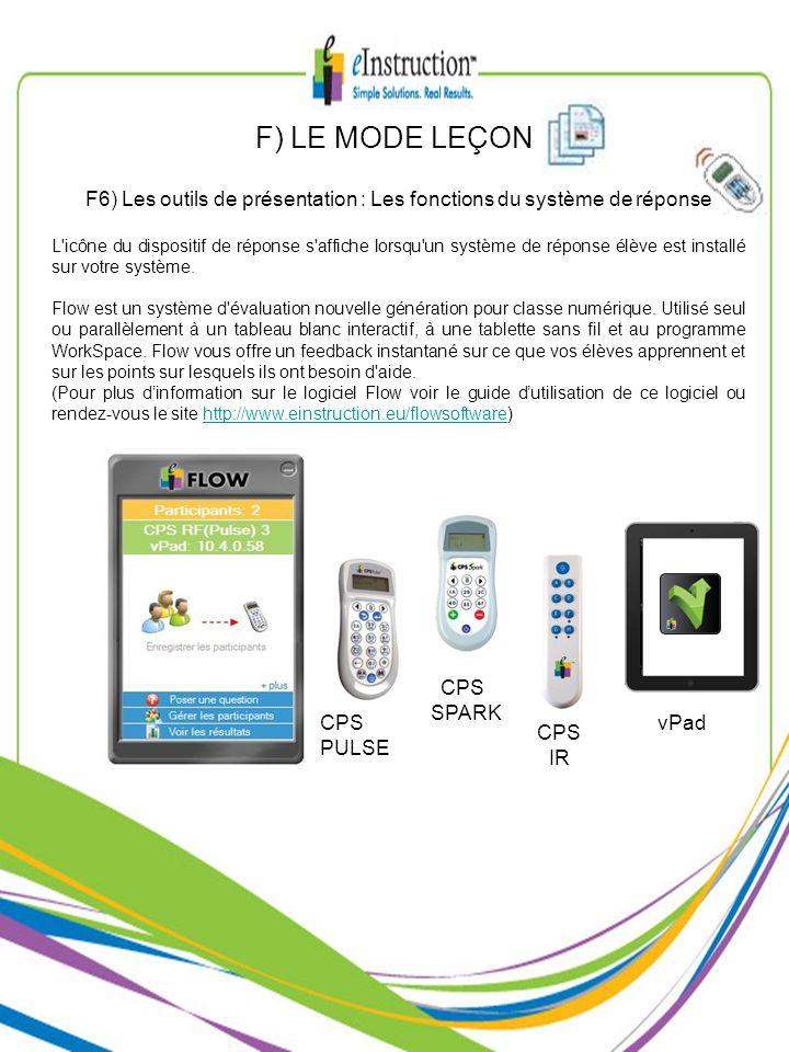 F) LE MODE LEÇON F6) Les outils de présentation : Les fonctions du système de réponse L'icône du dispositif de réponse s'affiche lorsqu'un système de