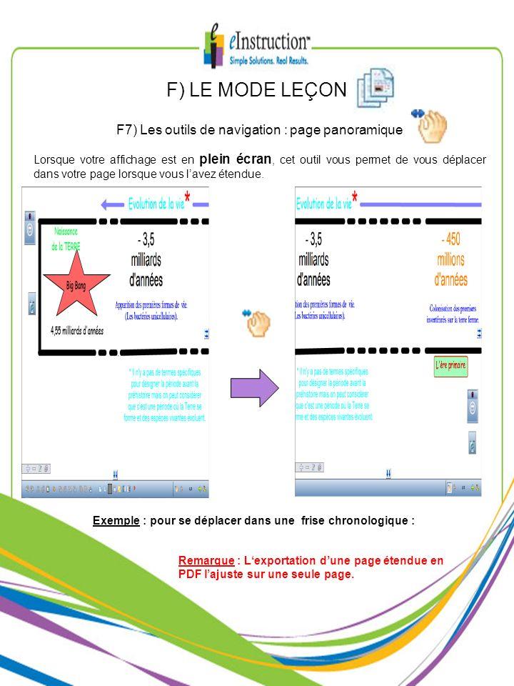 F) LE MODE LEÇON F7) Les outils de navigation : page panoramique Lorsque votre affichage est en plein écran, cet outil vous permet de vous déplacer da