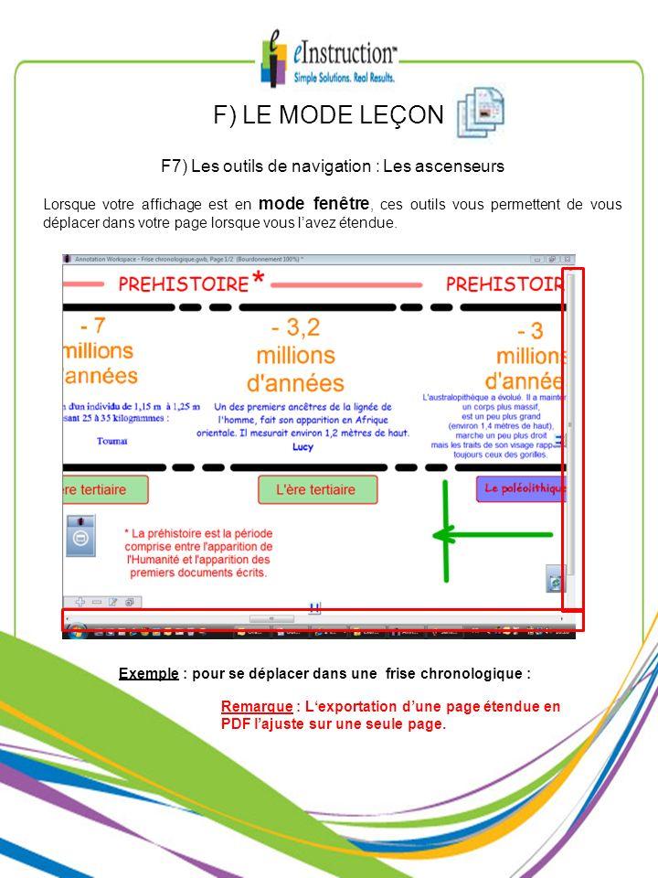F) LE MODE LEÇON F7) Les outils de navigation : Les ascenseurs Lorsque votre affichage est en mode fenêtre, ces outils vous permettent de vous déplace