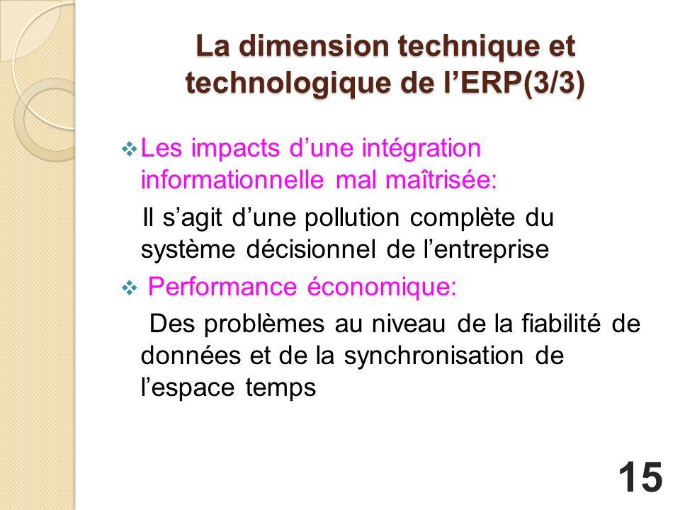 La dimension technique et technologique de lERP(3/3) Les impacts dune intégration informationnelle mal maîtrisée: Il sagit dune pollution complète du système décisionnel de lentreprise Performance économique: Des problèmes au niveau de la fiabilité de données et de la synchronisation de lespace temps 15
