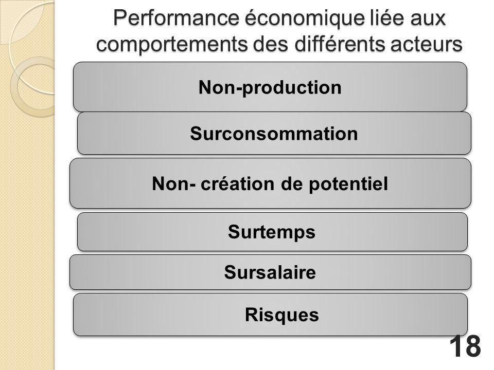 Performance économique liée aux comportements des différents acteurs Non- création de potentiel Risques Non-production Surtemps Surconsommation Sursalaire 18