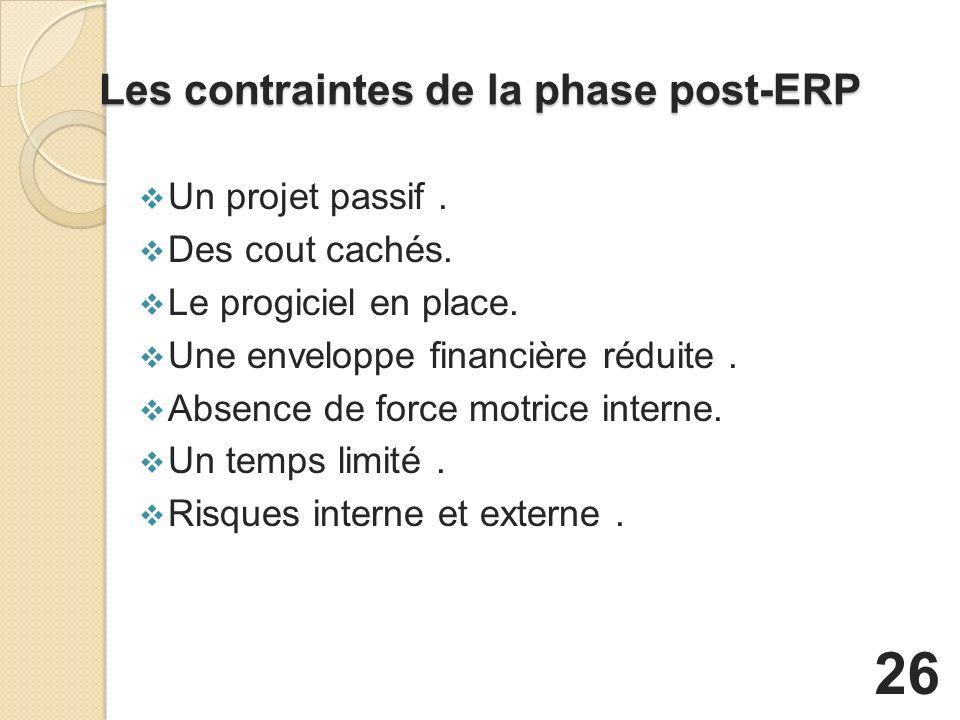 Les contraintes de la phase post-ERP Un projet passif.