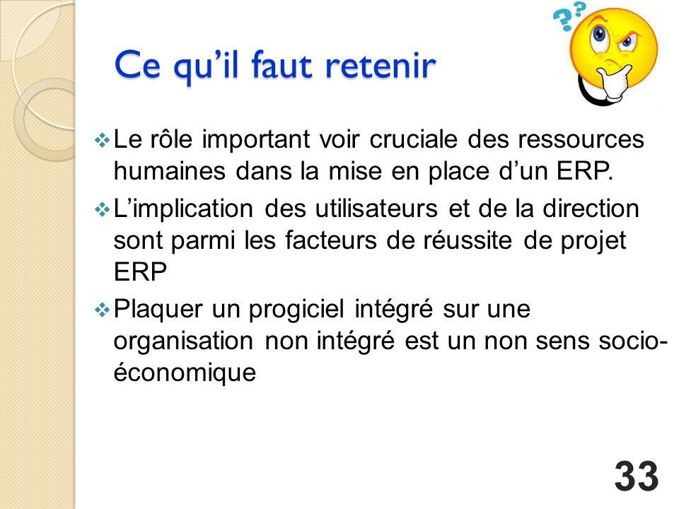 Ce quil faut retenir Le rôle important voir cruciale des ressources humaines dans la mise en place dun ERP.