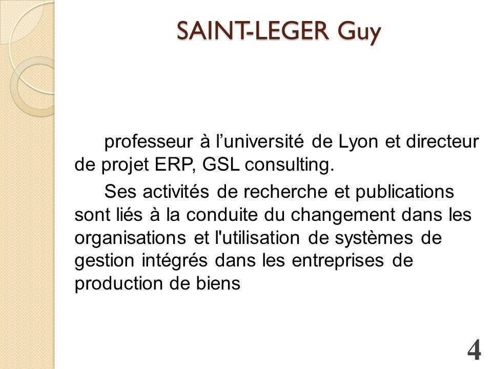 SAINT-LEGER Guy professeur à luniversité de Lyon et directeur de projet ERP, GSL consulting.