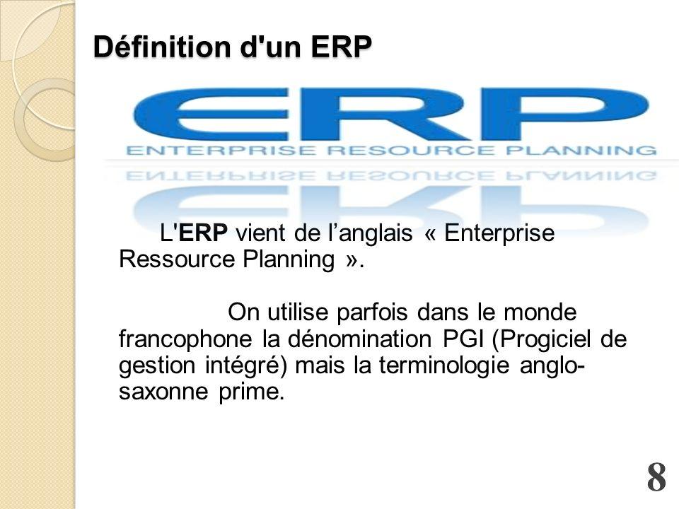 Définition d un ERP Définition d un ERP L ERP vient de langlais « Enterprise Ressource Planning ».