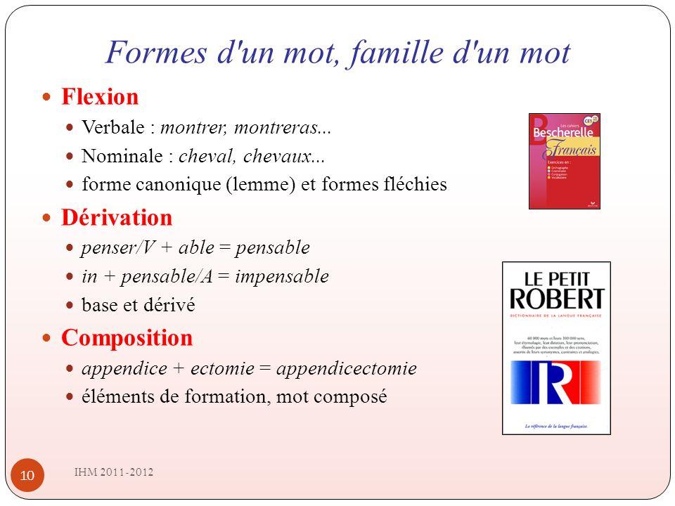 Formes d un mot, famille d un mot IHM 2011-2012 10 Flexion Verbale : montrer, montreras...