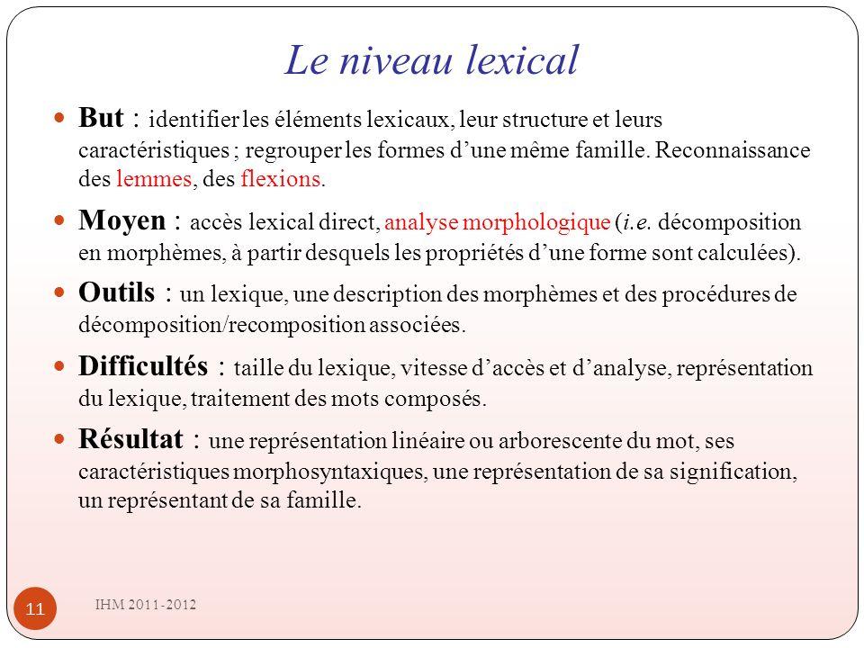 Le niveau lexical IHM 2011-2012 11 But : identifier les éléments lexicaux, leur structure et leurs caractéristiques ; regrouper les formes dune même famille.