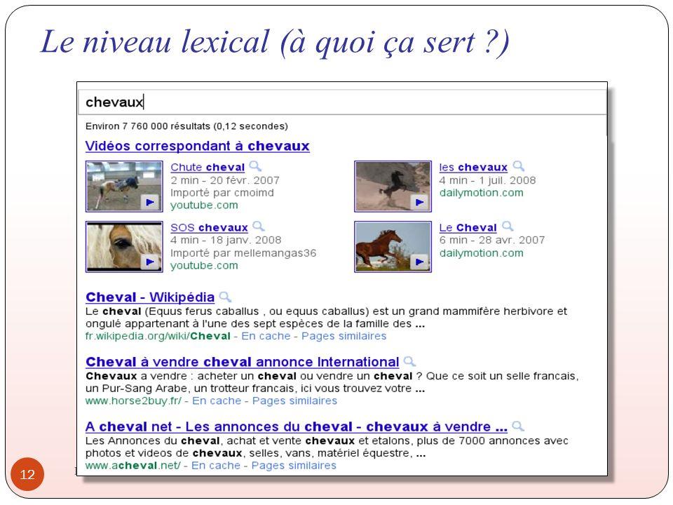 Le niveau lexical (à quoi ça sert ?) IHM 2011-2012 12