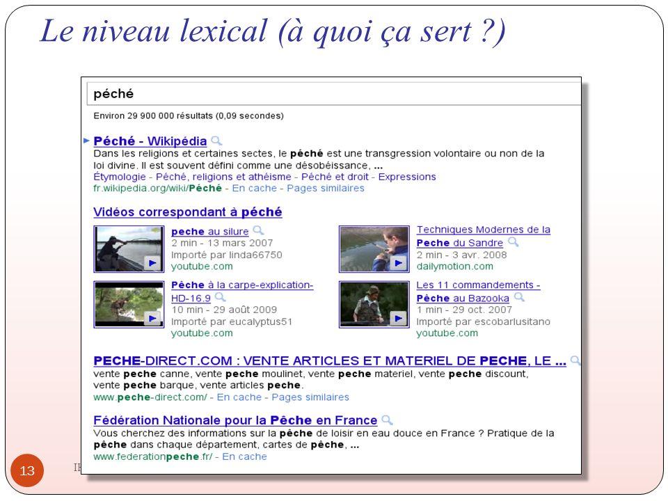 Le niveau lexical (à quoi ça sert ?) IHM 2011-2012 13