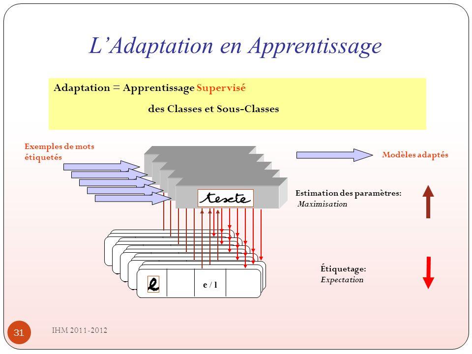 LAdaptation en Apprentissage IHM 2011-2012 31 Adaptation = Apprentissage Supervisé des Classes et Sous-Classes CMI CMC CSI CSC CiCi e / l e [80%] l [20%] CMI CMC CSI CSC CiCi e / l e [80%] l [20%] CMI CMC CSI CSC CiCi e / l e [80%] l [20%] CMI CMC CSI CSC CiCi e / l e [80%] l [20%] e / l Exemples de mots étiquetés Estimation des paramètres: Maximisation Étiquetage: Expectation Modèles adaptés