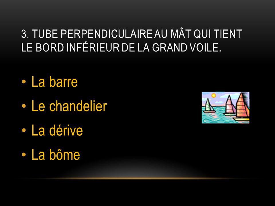 3.TUBE PERPENDICULAIRE AU MÂT QUI TIENT LE BORD INFÉRIEUR DE LA GRAND VOILE.