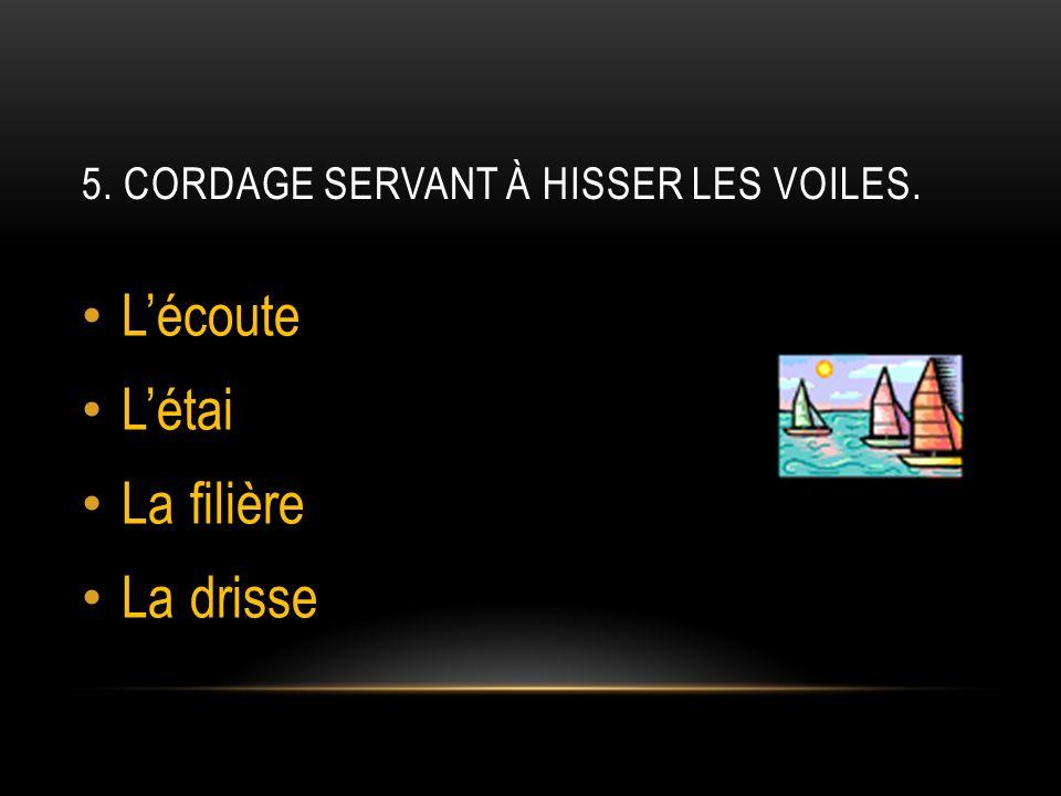 5. CORDAGE SERVANT À HISSER LES VOILES. Lécoute Létai La filière La drisse