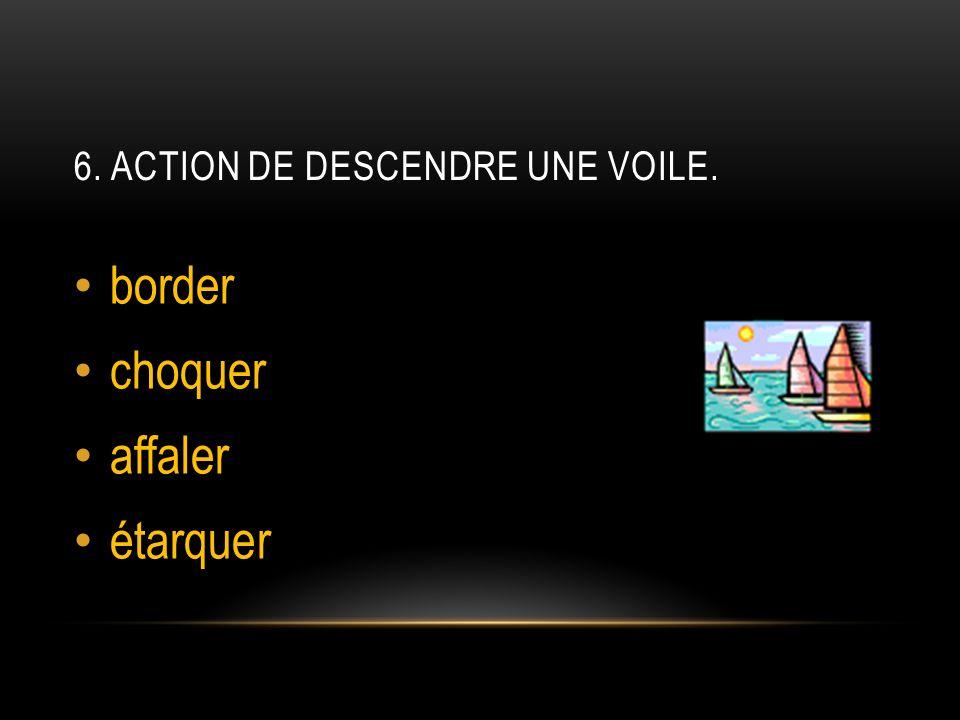 6. ACTION DE DESCENDRE UNE VOILE. border choquer affaler étarquer