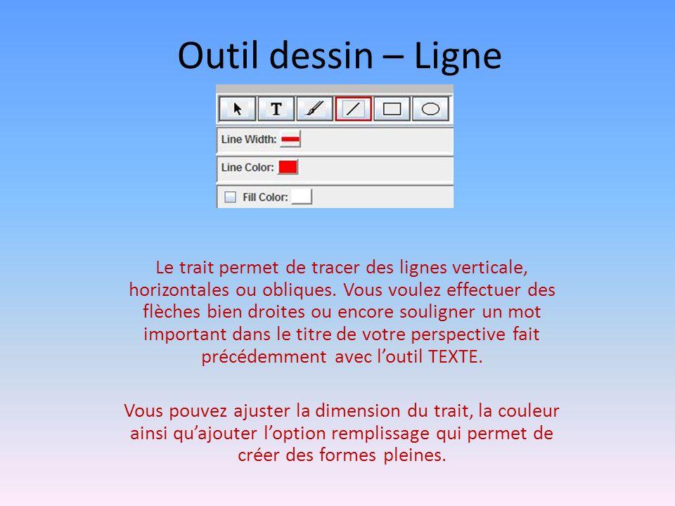 Outil dessin – Ligne Le trait permet de tracer des lignes verticale, horizontales ou obliques.