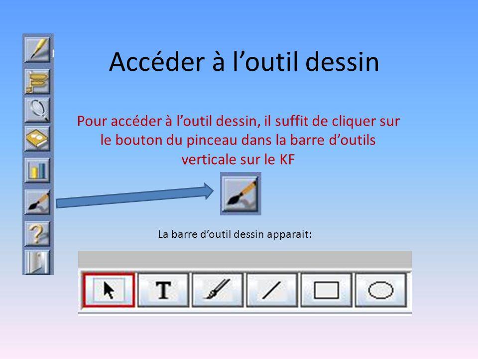 Accéder à loutil dessin Pour accéder à loutil dessin, il suffit de cliquer sur le bouton du pinceau dans la barre doutils verticale sur le KF La barre doutil dessin apparait: