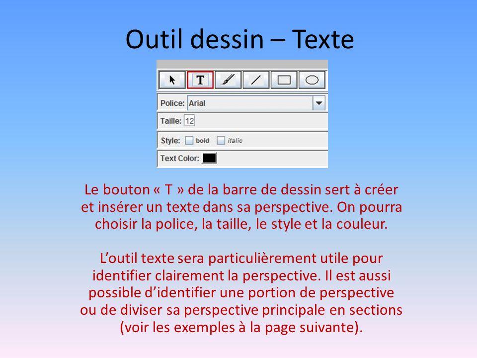 Outil dessin – Texte Le bouton « T » de la barre de dessin sert à créer et insérer un texte dans sa perspective.