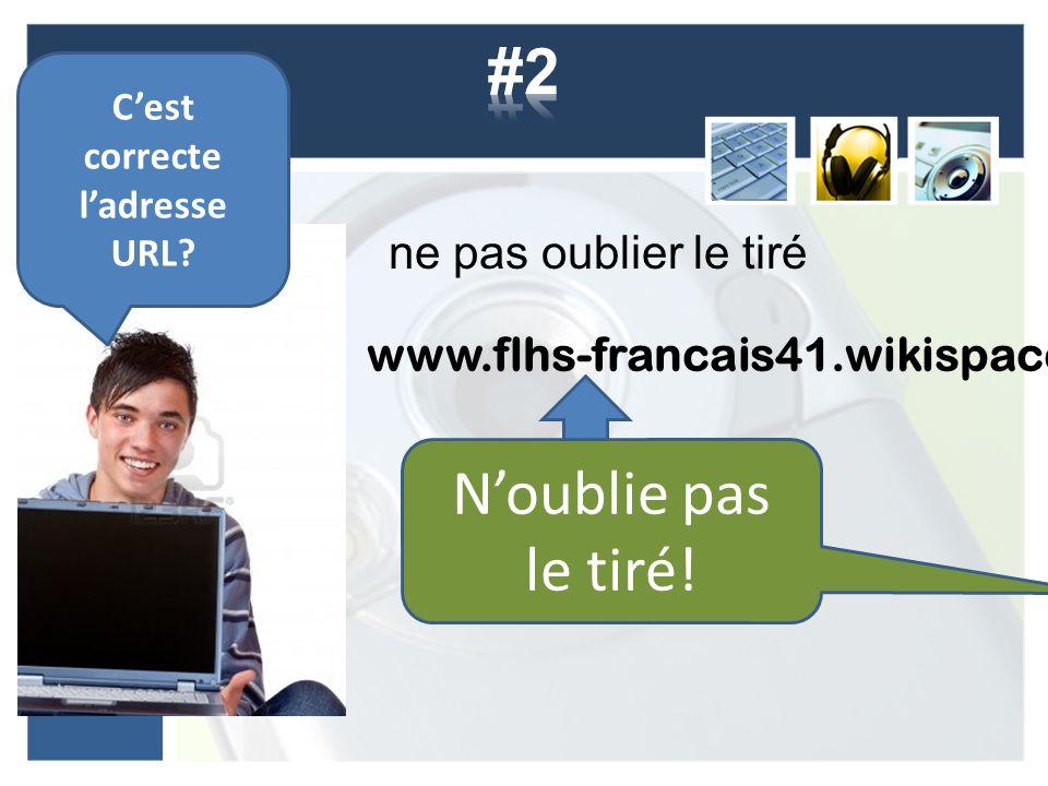 ne pas oublier le tiré www.flhs-francais41.wikispaces.com Cest correcte ladresse URL.