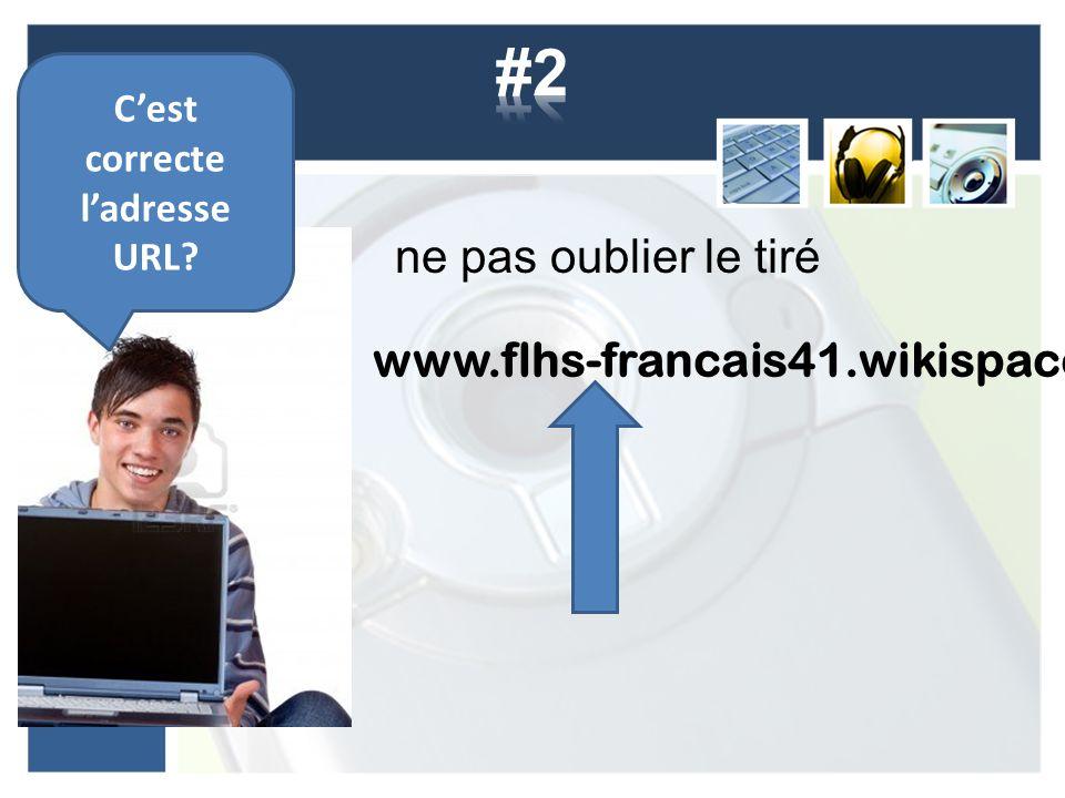 ne pas oublier le tiré www.flhs-francais41.wikispaces.com Cest correcte ladresse URL