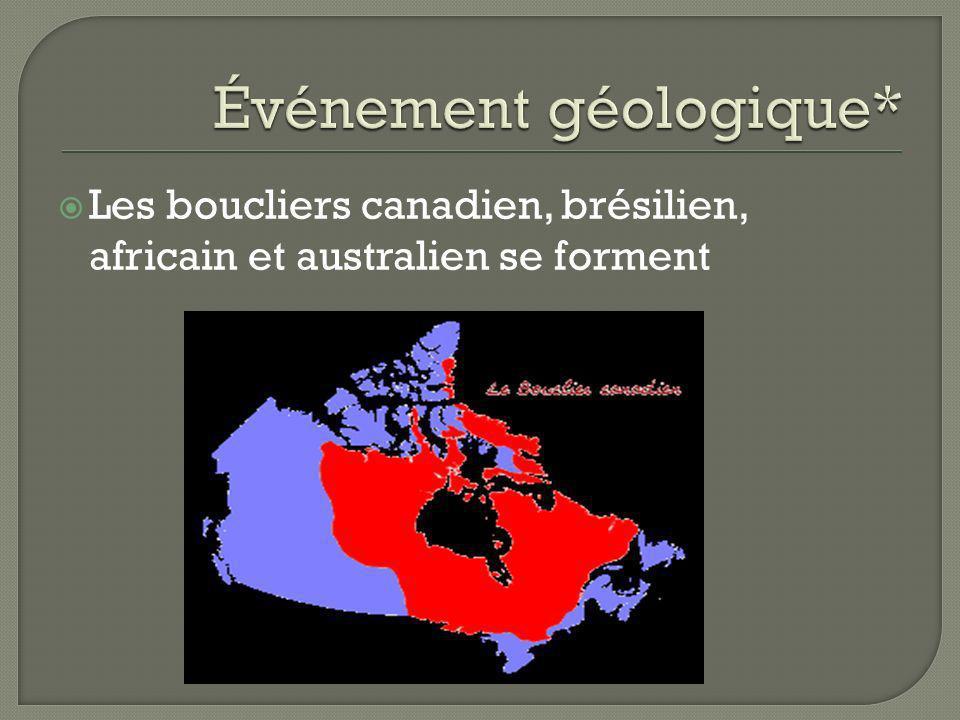 Les boucliers canadien, brésilien, africain et australien se forment