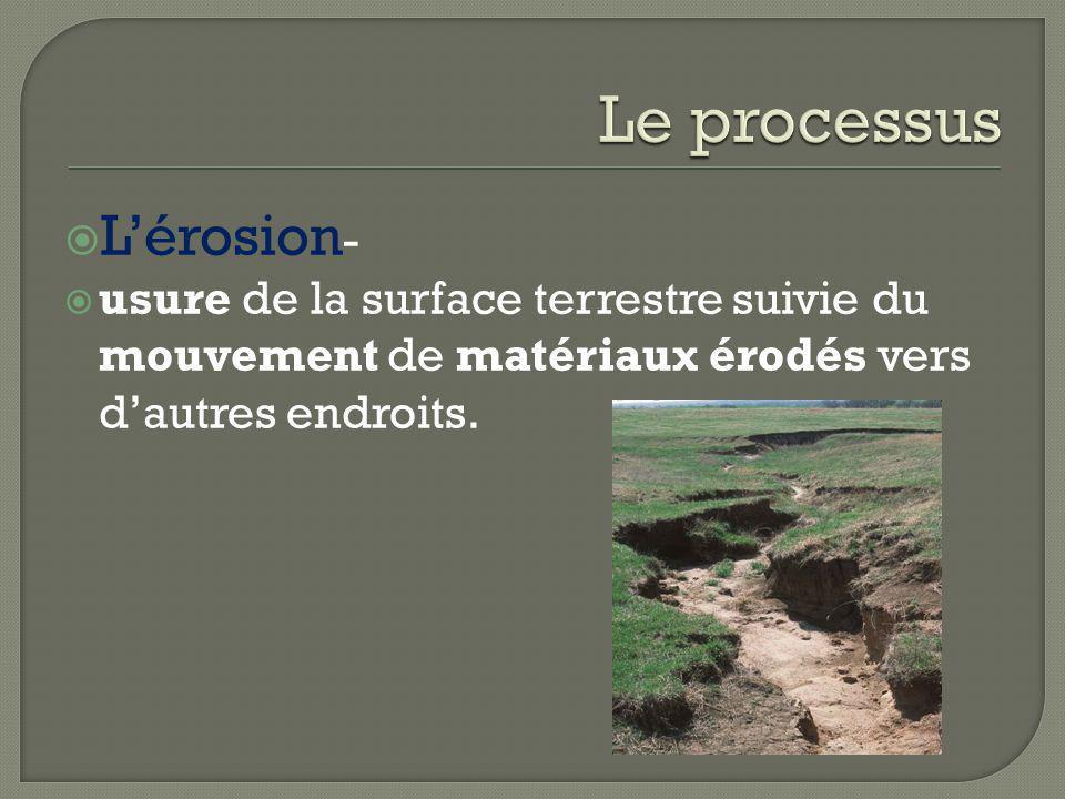 Lérosion - usure de la surface terrestre suivie du mouvement de matériaux érodés vers dautres endroits.