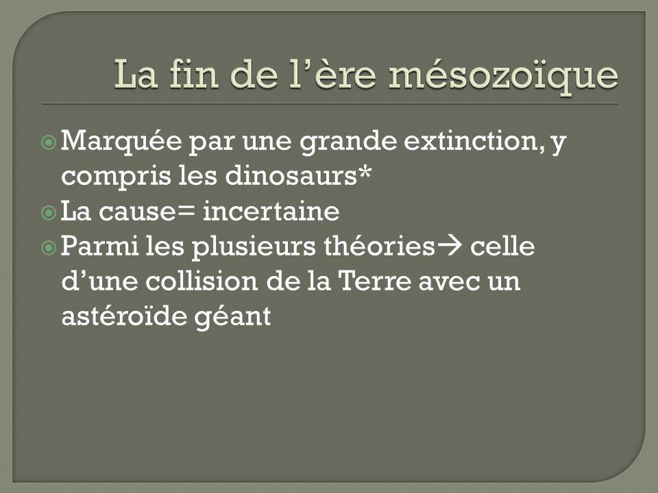 Marquée par une grande extinction, y compris les dinosaurs* La cause= incertaine Parmi les plusieurs théories celle dune collision de la Terre avec un